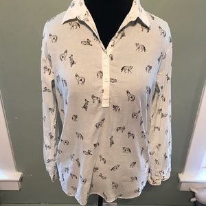 North Face 3/4 button top with Wolves